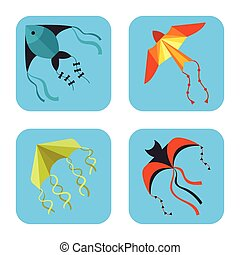 Flying kite snake serpent dragon kids toy colorful card outdoor summer activity vector illustration