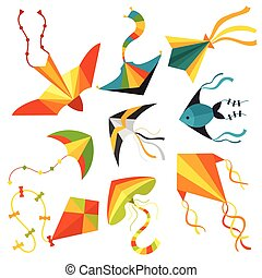 Flying kite snake serpent dragon kids toy colorful outdoor summer activity vector illustration