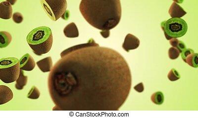 Flying Kiwi fruits in slow motion