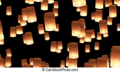 Flying Lanterns Yeepang Festival. Beautiful 3d animation. HD 1080. Close-up view.