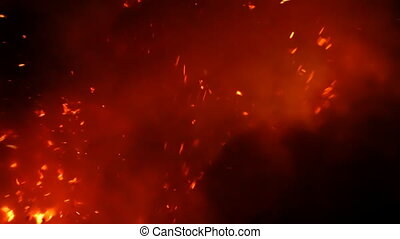 Close up of lava exploding out from a lava tube in Hawaii at night