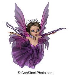 Flying Little Fairy Butterfly - 3D digital render of a...