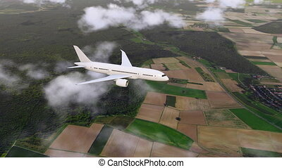 Flying low brandless airliner and ground below 4K - White...