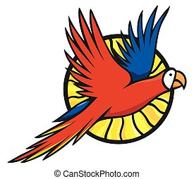 Flying macaw parrot and the sun bright logo