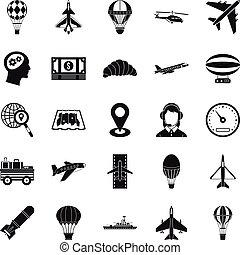 Flying machine icons set, simple style