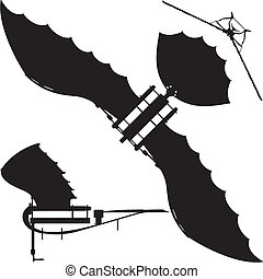 Flying Machine Based On The Leonardo da Vinci Antique Light Hang Glider Vector