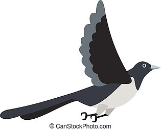 Flying magpie icon, flat style