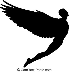 Flying man - Editable vector silhouette of a man with wings...