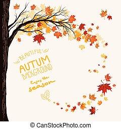 Flying maple leaves