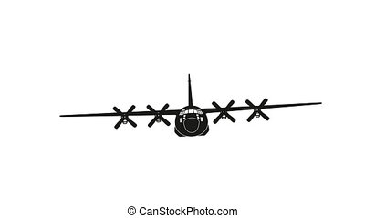 Flying military aircraft on white background. Black silhouette of cargo plane. Front view