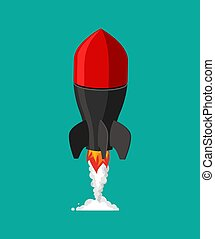 Flying missile. Military rocket. Bomb vector illustration