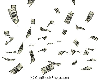 FLYING MONEY - FLYING BILLS IN THE AIR ON WHITE BACKGROUND