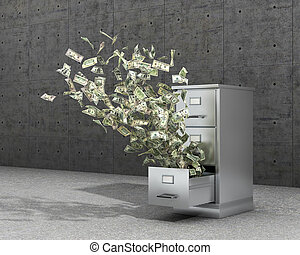 Flying money from a locker to store documents. The cabinet for archives stands on a concrete floor near concrete panels. 3d illustration