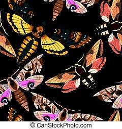 Flying moths seamless