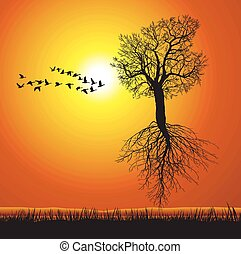 vector illustration of a flying mulberry tree with roots