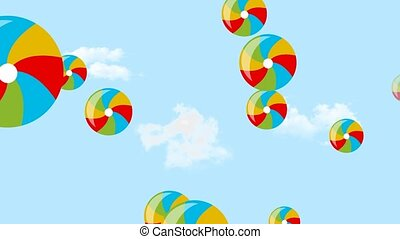 Flying multicolored baby inflatable balls on sky background....