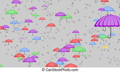 Flying multicolored umbrellas behind glass with raindrops,...