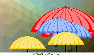 Flying multicolored umbrellas on polygonal background in rain, weather forecast intro,