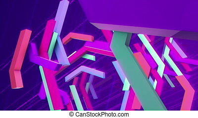 """""""Flying multicolored zigzag techno bars"""" - """"Exciting 3d..."""