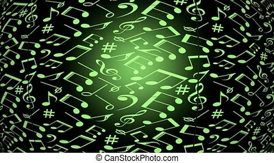 flying music notes and music symbols, color changing effect,...