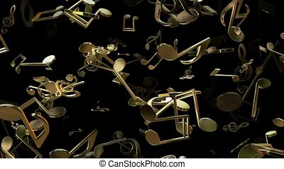 Flying musical notes in golden color on black
