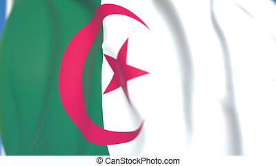 Flying national flag of Algeria close-up, 3D rendering
