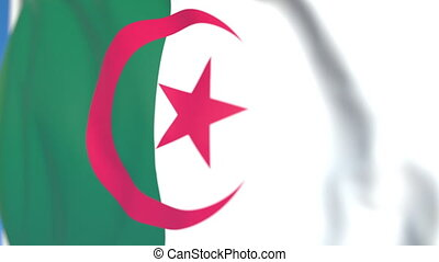 Flying national flag of Algeria close-up, loopable 3D...