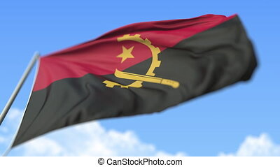 Flying national flag of Angola, low angle view. Loopable realistic slow motion 3D animation