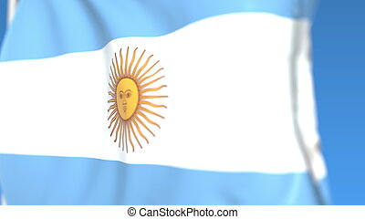 Flying national flag of Argentina close-up, 3D rendering