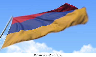 Flying national flag of Armenia, low angle view. Loopable realistic slow motion 3D animation