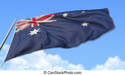 Flying national flag of Australia, low angle view. 3D rendering