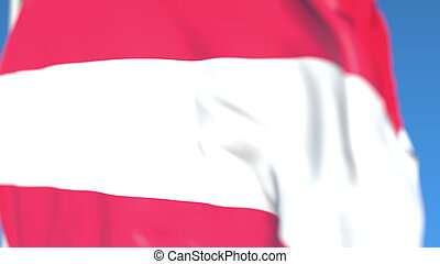 Flying national flag of Austria close-up, 3D rendering