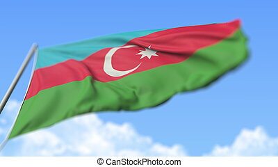 Flying national flag of Azerbaijan, low angle view. 3D rendering