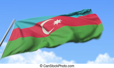 Flying national flag of Azerbaijan, low angle view. Loopable realistic slow motion 3D animation