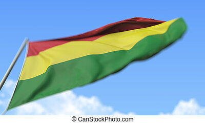 Flying national flag of Bolivia, low angle view. 3D rendering