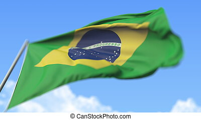 Flying national flag of Brazil, low angle view. 3D rendering