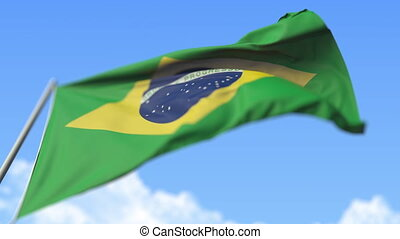 Flying national flag of Brazil, low angle view. Loopable realistic slow motion 3D animation