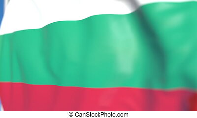 Flying national flag of Bulgaria close-up, loopable 3D animation