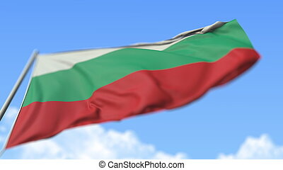 Flying national flag of Bulgaria, low angle view. 3D rendering