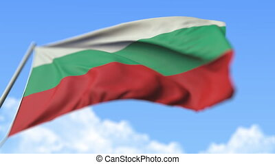 Flying national flag of Bulgaria, low angle view. Loopable realistic slow motion 3D animation
