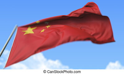 Flying national flag of China, low angle view. 3D rendering
