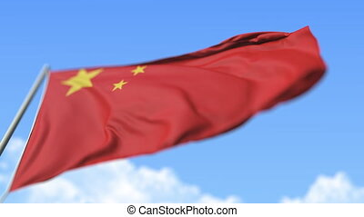 Flying national flag of China, low angle view. Loopable realistic slow motion 3D animation