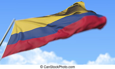 Flying national flag of Colombia, low angle view. 3D rendering