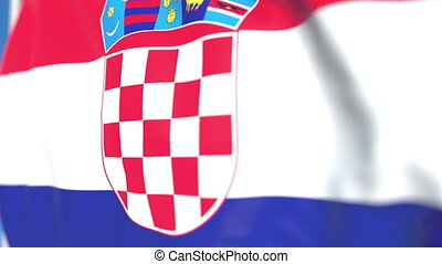 Flying national flag of Croatia close-up, loopable 3D animation