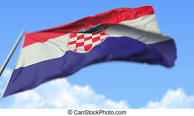 Flying national flag of Croatia, low angle view. 3D rendering