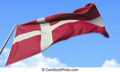 Flying national flag of Denmark, low angle view. 3D rendering