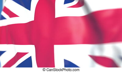 Flying national flag of Great Britain close-up, loopable 3D animation