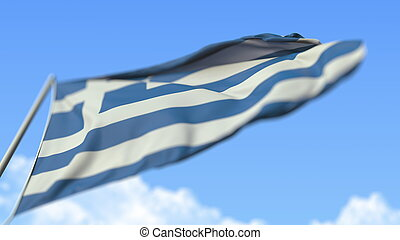 Flying national flag of Greece, low angle view. 3D rendering