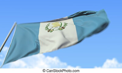 Flying national flag of Guatemala, low angle view. 3D rendering