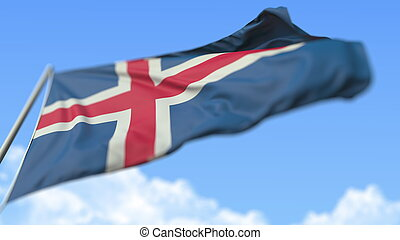 Flying national flag of Iceland, low angle view. 3D rendering